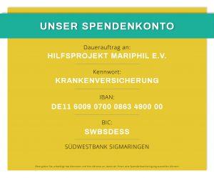Spendenkonto Hilfsprojekt MARIPHIL e.V. 300x249 - Notfallhilfe und Krankenversicherung