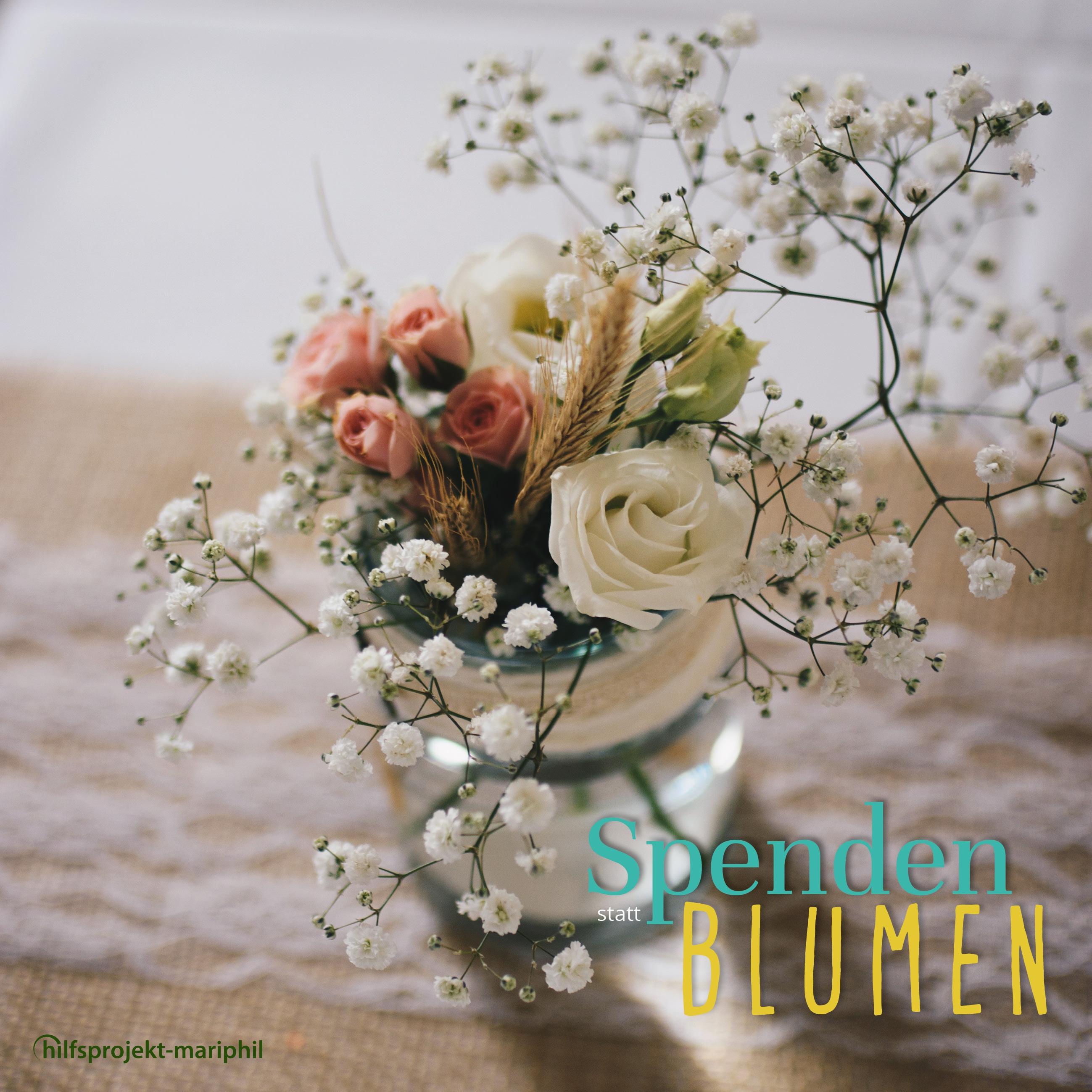 Spenden statt Blumen mit Logo - Jetzt spenden