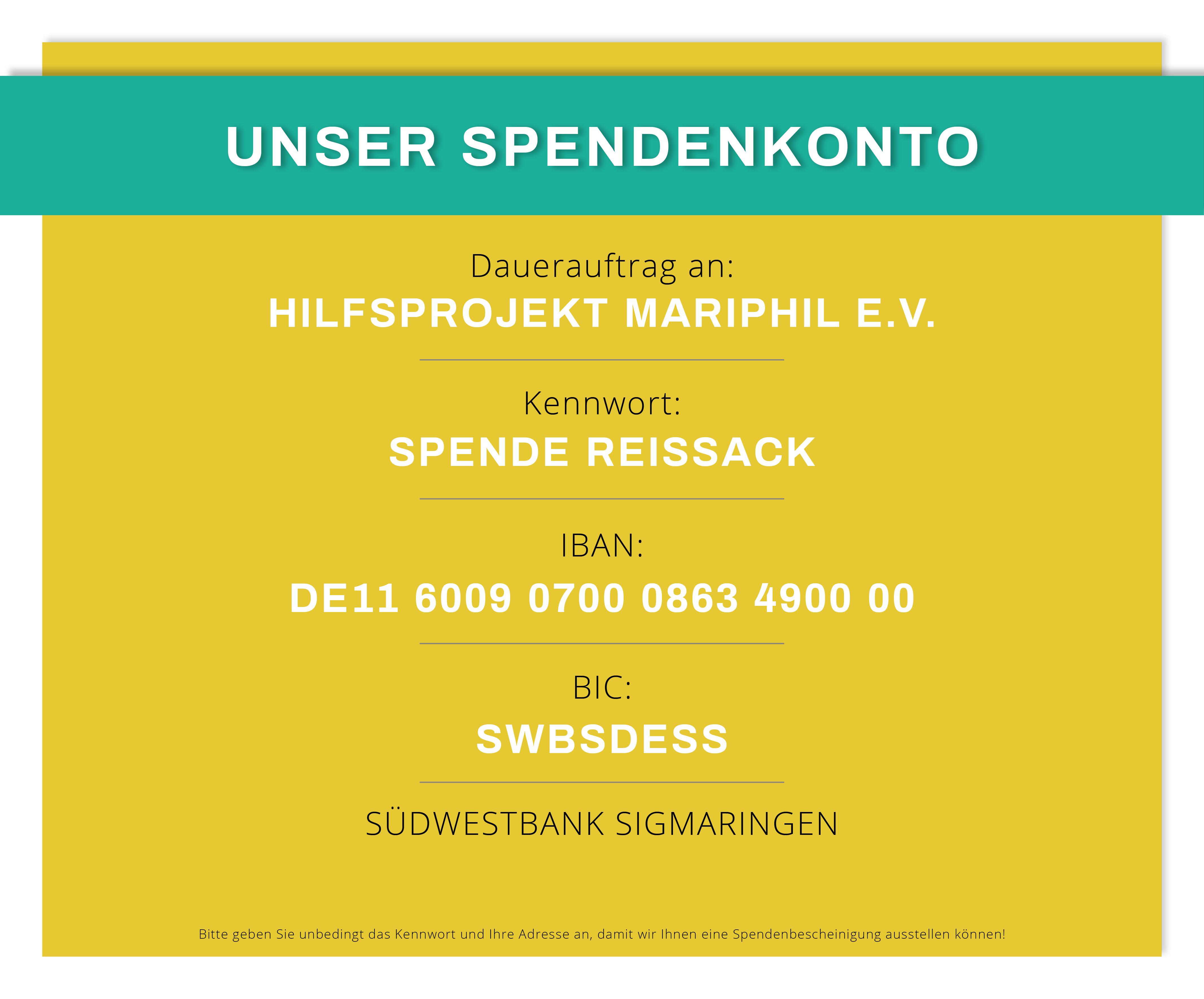 """Spendenkonto Mariphil Aktion Reissack - Der Startschuss zur """"Aktion Reissack 2018"""" ist gefallen!"""